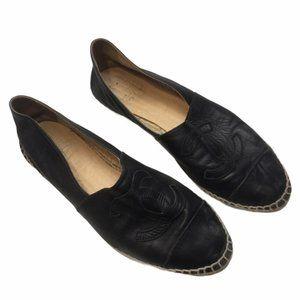 CHANEL Black Espadrilles Size 40